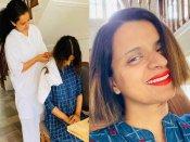 अब हेयरड्रेसर बन गईं कंगना रनौत- बहन रंगोली चंदेल के बाल काटे- सामने आईं शानदार तस्वीरें
