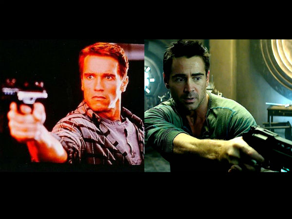 Collin Farrell and Arnold Schwarzenegger