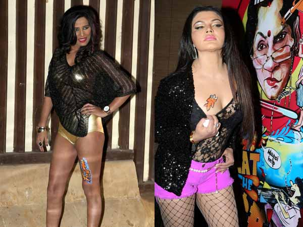 Rakhi Sawant and Poonam promoting What The Fish in seductive way