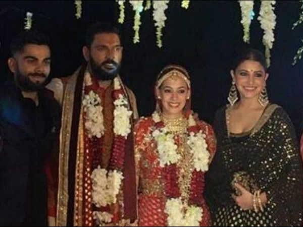 #ViralPic: युवराज की शादी में बाराती बने अनुष्का - विराट...वीडियो भी वायरल