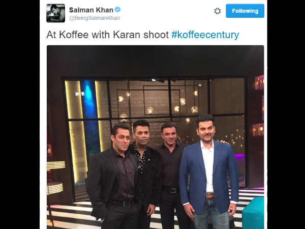 Salman khan his Khan brothers grace the Koffee couch with Karan Johar!