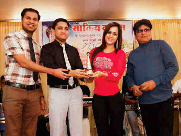 bhojpuri-actress-gunjan-pant-awarded-sakib-times-media-award