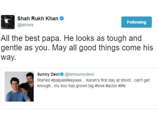 shahrukh-khan-wished-sunny-deol-for-his-son-debut-on-twitter