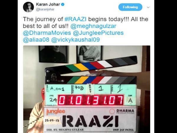 आलिया भट्ट ने शुरू की अगली फिल्म की शूटिंग..करण जौहर ने शेयर की तस्वीर
