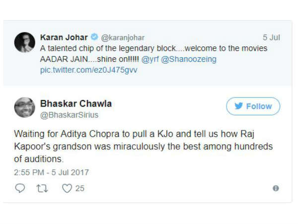 twitter-blasts-karan-johar-over-nepotism-as-he-welcomes-raj-kapoor-s-grandson-aadar-jain