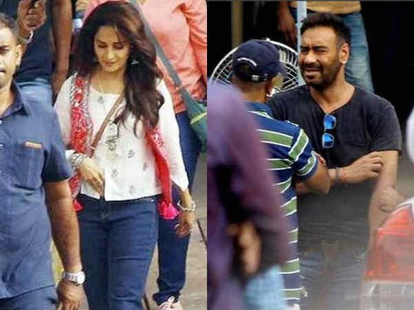 अजय देवगन और माधुरी की फिल्म शुरू, सेट से लीक हुईं तस्वीरें, देखें first look