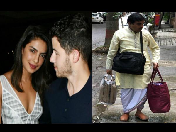 प्रियंका चोपड़ा और निक जोनस के रोका सेरेमनी के लिए पहुंचे पंडित जी, देखें तस्वीरें