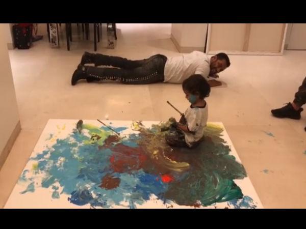 रंगो के साथ मामा-भांजे की मस्ती, सलमान खान भी आहिल के साथ बन गए बच्चा, Video वायरल