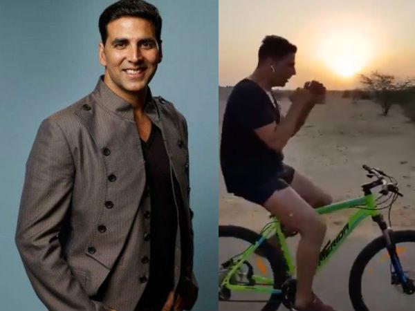 अक्षय कुमार ने रेगिस्तान के बीच साइकिल पर की बॉक्सिंग, फैंस को दी ना करने की नसीहत