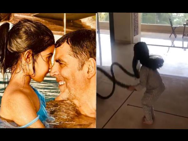 अक्षय कुमार ने 6 साल की बेटी नितारा से कराई रोप एक्सरसाइज, Video हो गया वायरल