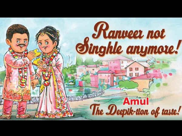 रणवीर सिंह और दीपिका पादुकोण को अमूल और ड्यूरेक्स ब्रांड ने दी अनोखी बधाई