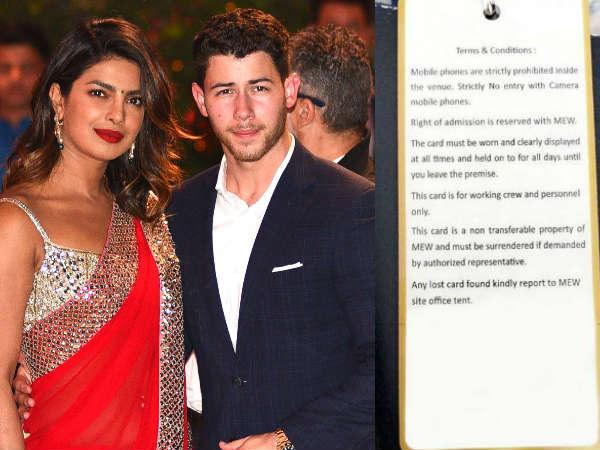 Priyanka-Nick Wedding: शादी पर उम्मेद भवन मे मौजूद स्टाफ को फॉलो करने पड़ेंगें ये नियम, ये रहा कार्ड