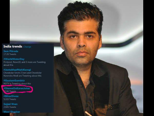 शाहरुख खान के खिलाफ ट्विट को करण जौहर ने किया लाइक, भड़के फैंस ने कहा, #ShameOnKaranJohar