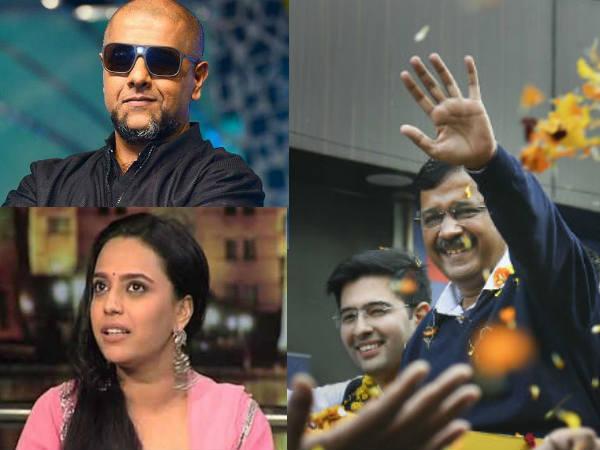 DelhiElection- दिल्ली में फिर 'आप' की सरकार- स्वरा भास्कर समेत इन सितारों के आए रिएक्शन्स