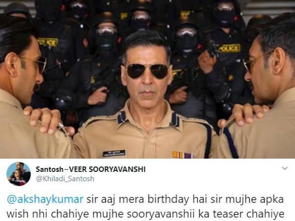 अक्षय कुमार के फैन ने जन्मदिन पर मांगा सूर्यवंशी का टीजर- एक्टर का जवाब आपका दिल जीत लेगा