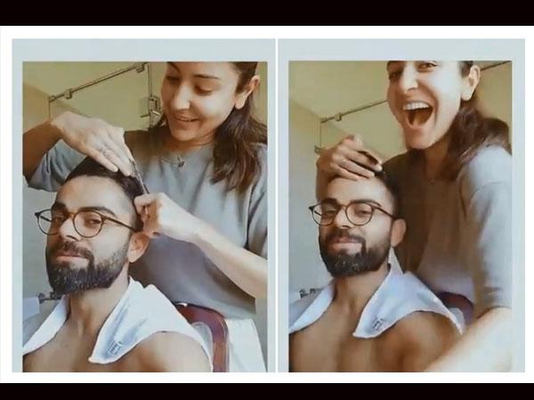 लॉकडाउन में पत्नी अनुष्का शर्मा ने कांटे विराट कोहली के बाल, वीडियो ने मचाया तलहका