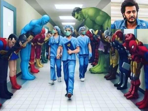Corona- डॉक्टर्स के आगे झुके नजर आए सुपरमैन, स्पाइडरमैन और हल्क- रितेश देशमुख ने दिया मैसेज