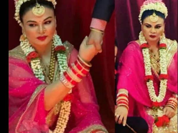 राखी सावंत के शादी की तस्वीरें वायरल- लाल जोड़े में खूफिया पति के हाथों में हाथ डाले एक्ट्रेस - PICS