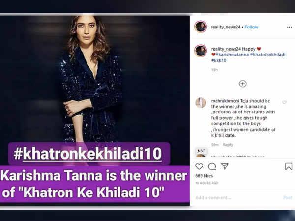 खतरों के खिलाड़ी सीज़न 10 की विजेता हैं करिश्मा तन्ना, जानिए किसको दी कड़ी टक्कर