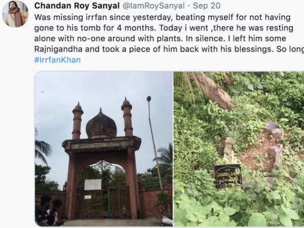इरफान खान की मौत के चार महीनों बाद उनकी कब्र पर पहुंचे दोस्त चंदन रॉय सान्याल
