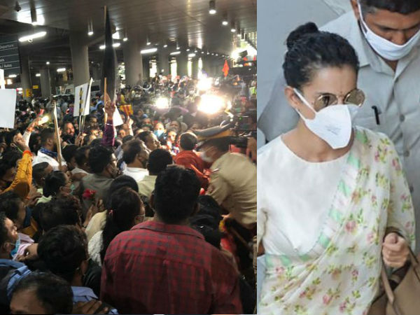 कंगना रनौत मुंबई पहुंची, विरोधियों ने दिखाए काले झंडे- एयरपोर्ट के बाहर उमड़ा हुजूम- PHOTOS