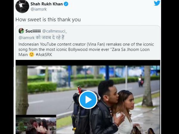 'जरा सा झूम लूं मैं' के इंडोनेशियन वर्जन को देख खुश हुए शाहरुख खान, क्यूट हैं राज-सिमरन
