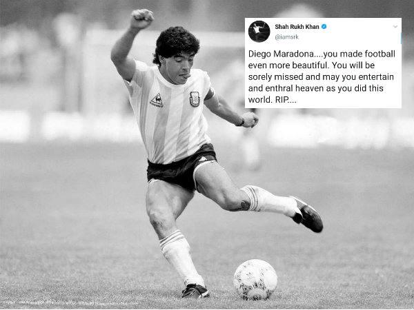 स्टार फुटबॉलर डियागो माराडोना का निधन, शाहरुख खान से लेकर अजय देवगन ने शेयर की यादें