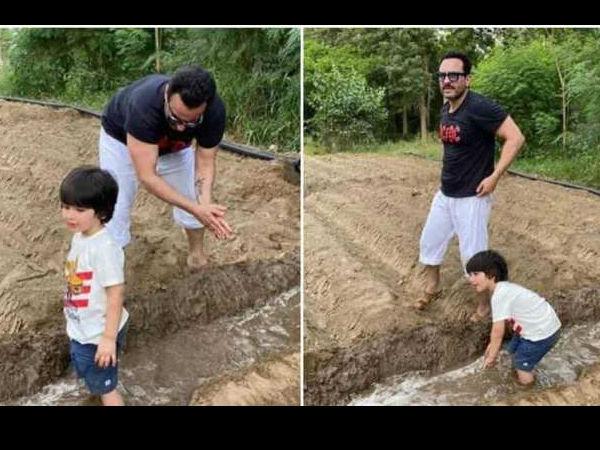 बेटे तैमूर संग खेतों में काम करते दिखे सैफ अली खान, वायरल हुईं Photos