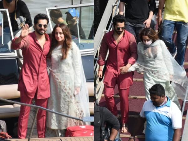 Pics: अलीबाग में शादी करने के बाद मुंबई वापस लौटे वरूण धवन और मिसेज़ नताशा दलाल धवन