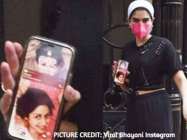 कैमरों में कैद हुआ खुशी कपूर के फोन का स्क्रीनसेवर, मां श्रीदेवी के साथ बचपन की खास तस्वीर