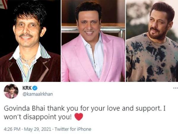 सलमान खान संग विवाद के बीच KRK ने लिया गोविंदा का नाम, कहा- 'भाई सपोर्ट करने के लिए शुक्रिया'