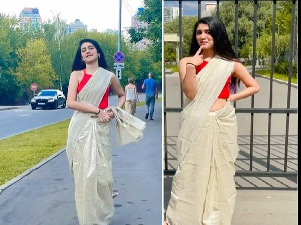 रूस की सड़क पर प्रिया प्रकाश वारियर ने साड़ी में किया बोल्ड देसी डांस, तस्वीरों में दिखा जलवा Video