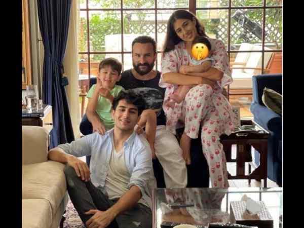 ईद पर सारा अली खान ने तीनों भाईयों के साथ मनाया जश्न - इब्राहिम, तैमूर, जेह की साथ में पहली तस्वीर