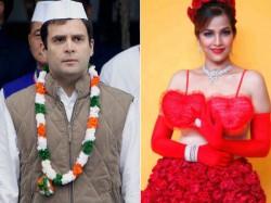 Valentine Day Tanisha Singh Again Poses With Rahul Gandhi Poster