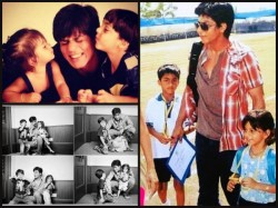 Shahrukh Khan Cute Pics With Suhana And Aryan When They Were Kid