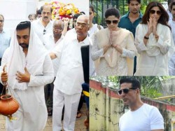 Bollywood Celebs Visit Last Rites Shilpa Shetty S Father