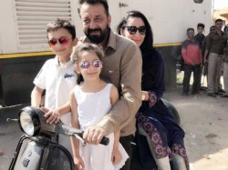 Sanjay Dutt Takes Scooter Ride With Family In Agra