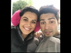 Varun Dhawan And Taapsee Pannu Cute Pic From Judwaa 2 Set