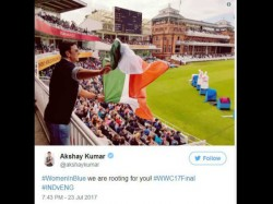 Akshay Kumar Holds Indian Flag Upside Down In Women World Cup Final Gets Trolled