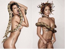 Singer Model Rihanna Posed Bare Body With Cobra Snake