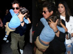 Shahrukh Khan Carries Sleepy Abram On Airport