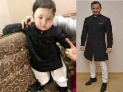 Taimur Ali Khan Looks As Royal As His Father In Black Kurta