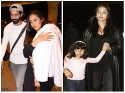 Shahid Kapoor With Mira Misha And Aishwarya Rai Spotted With Aaradhya At Airport
