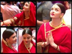 Aishwarya Rai Bachchan Visits Lalbaugcha Raja A Red Saree