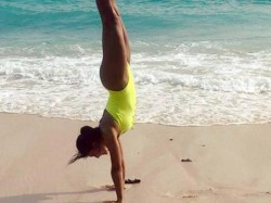 Jacqueline Fernandez Handstand At Bali Beach