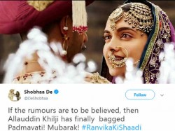Shobhaa De Creates Buzz Wishing On Ranveer Singh Deepika Padukone S Wedding