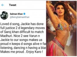 Salman Khan Comes Out In Support Of Jacqueline Fernandez S Ek Do Teen