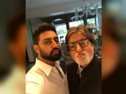 Amitabh Bachchan Abhishek Bachchan Look Adorable As They Slay Pout Game