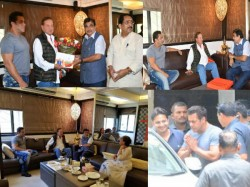 Union Minister Nitin Gadkari Visits Salman Khan Salim Khan At Galaxy Apartments