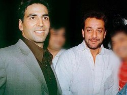 Sanjay Dutt Akshay Kumar Seen Greeting Each Other Middle Of The Road